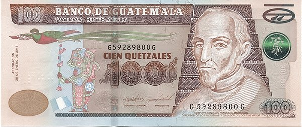 100 quetzales guatemalteco fronte