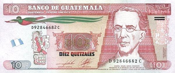 10 quetzales guatemalteco fronte