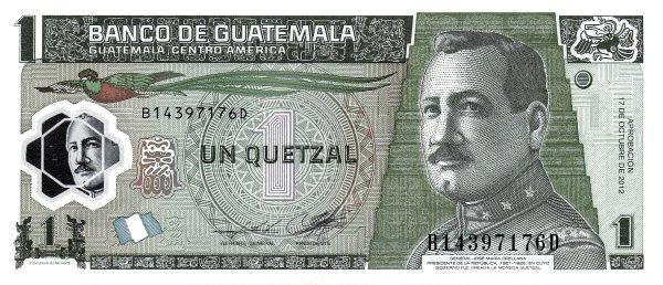 1 quetzal guatemalteco fronte