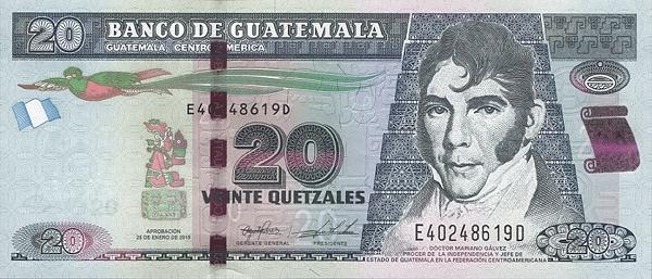 20 quetzales guatemalteco fronte